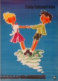 Railroad Poster: DB - Frohe Sommerreise  by Heinz Grave-Schmandt   $150