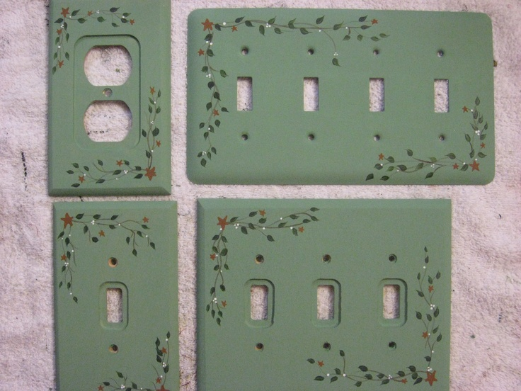 primitive country hand painted light switch and outlet covers