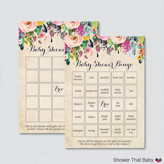 Floral Baby Shower Bingo Cards Printable Blank by ShowerThatBaby