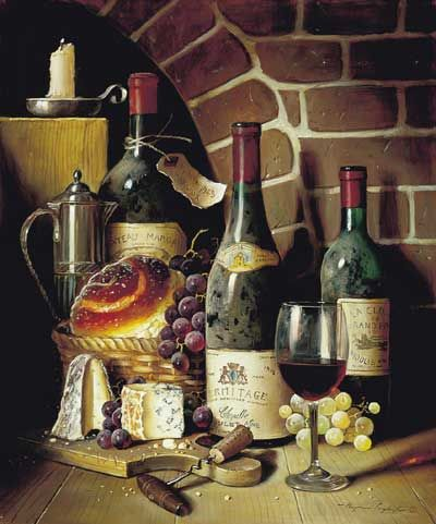 """""""Château Margaux 1945 and Hermitage 1978"""" by Raymond Campbell (British b. 1956)"""