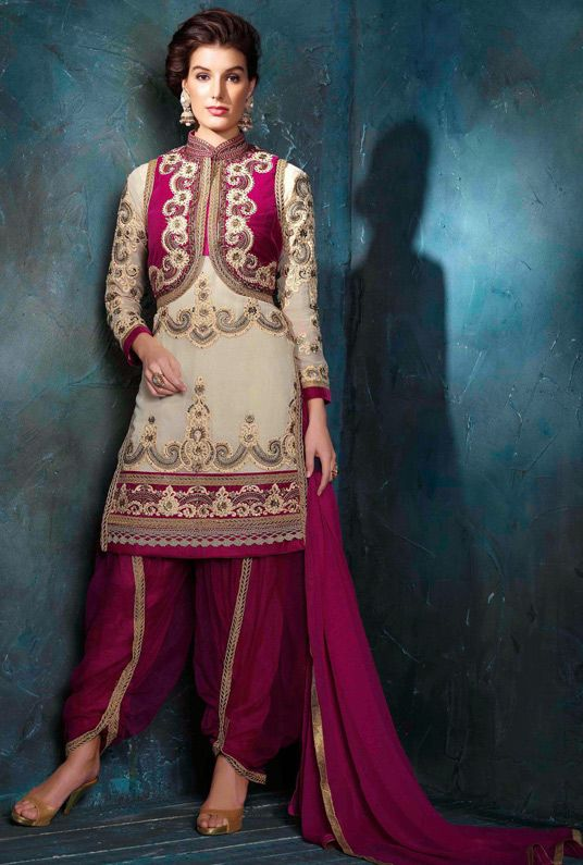 USD 67.41 Beige Georgette Punjabi Suit 44797