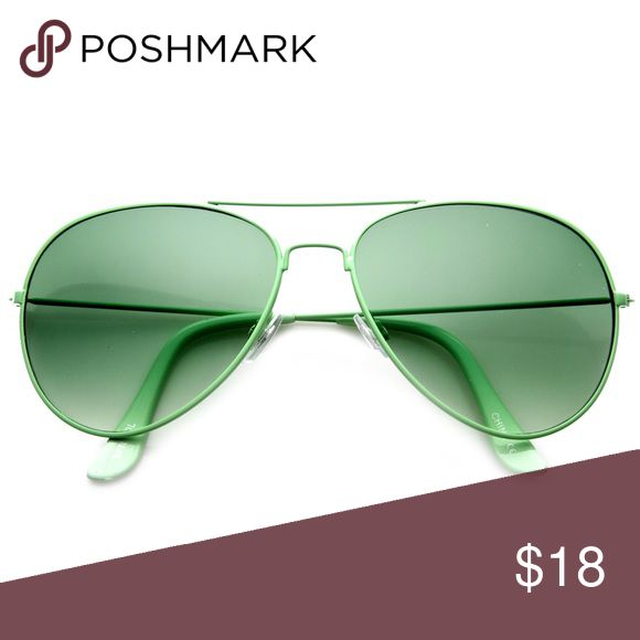 Classic Light Green Aviator Sunglasses NWT Classic metal teardrop aviator with eye catching colored frames. Made with spring loaded hinges, English style nose pieces and revo color. Produced with optical hinges, 100% UV400 protection lenses and polycarbonate frame.   Lens Width: 52mm Nose Bridge: 22mm Lens Height: 52mm Total Width: 140mm SolSkin Accessories Sunglasses