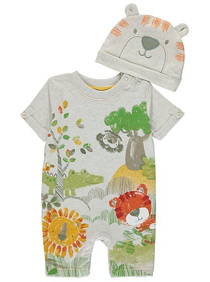 Safari Animals Romper And Hat Set, read reviews and buy online at George at ASDA. Shop from our latest range in Baby. Perfect for your little one's daily adv...