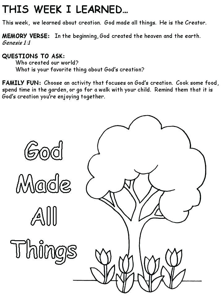 God Created The World Coloring Pages Bible Lessons For Kids