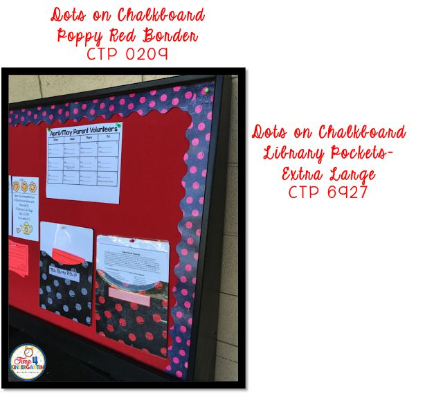 CTP Chalk It Up Colloection Dots on a Chalkboard- Parent Information Board. Cute!! #creativeteachingpress