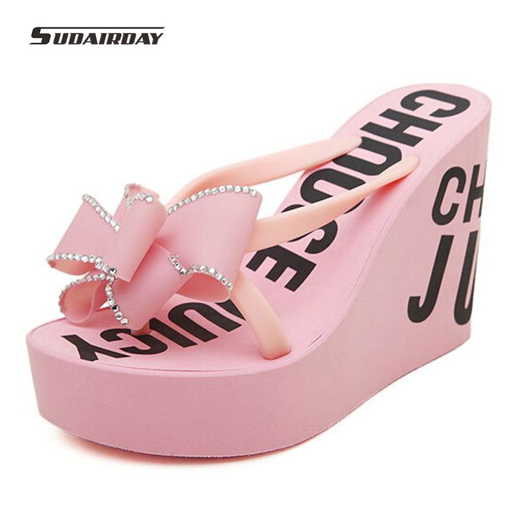 2016 New High Quality Ultra High Heels girl Beach Slippers Summer Rhinestone Bow-Knot platforms wedges Muffin Sandals Flip Flops