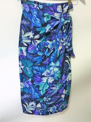 Dana-Buchman-Vtg-Silk-Hawaii-Tropical-Wrap-Sarong-Long-Skirt-14-Purples-Resort