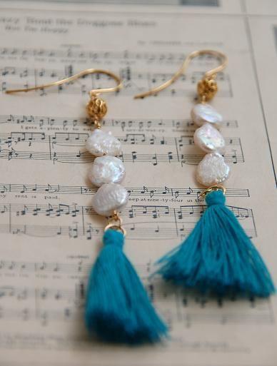 Keshi Pearl & Blue Tassel Earrings