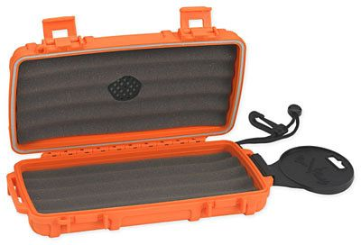 Cigar Caddy 5 - 5 Ct. (Blaze Orange) Rubber Coated Plastic Travel Humidor - J&N Supplies