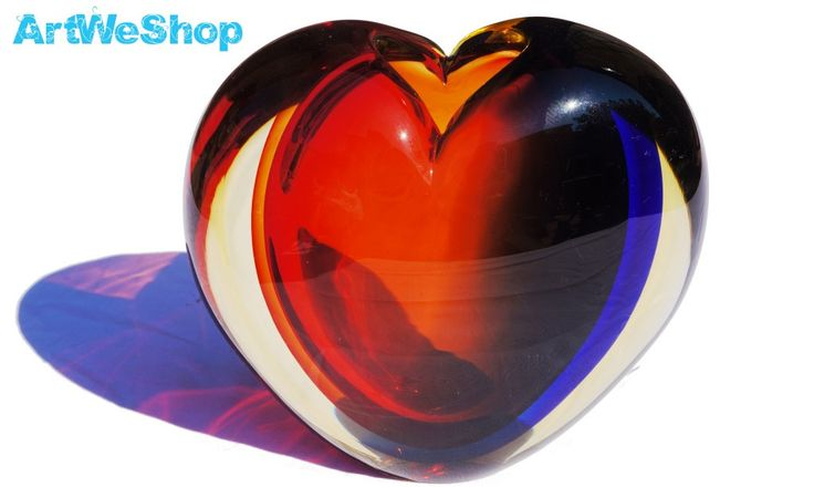 Valentine Gift from Venice, Italy Red Heart Shaped Murano Glass Vase Unique Gift Sommerso Glass Vase by Oball Vetro di Murano Made in Italy by ArtWeShop on Etsy