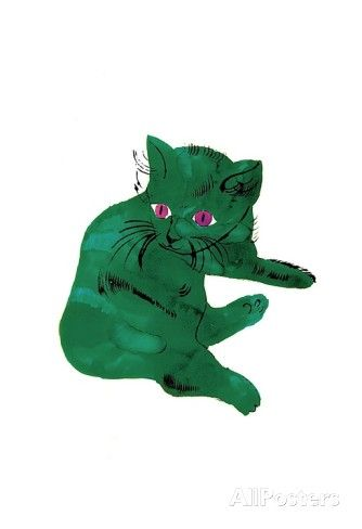 "Cat From ""25 Cats Named Sam and One Blue Pussy"" , c. 1954 (Green Cat) Print by Andy Warhol at AllPosters.com"