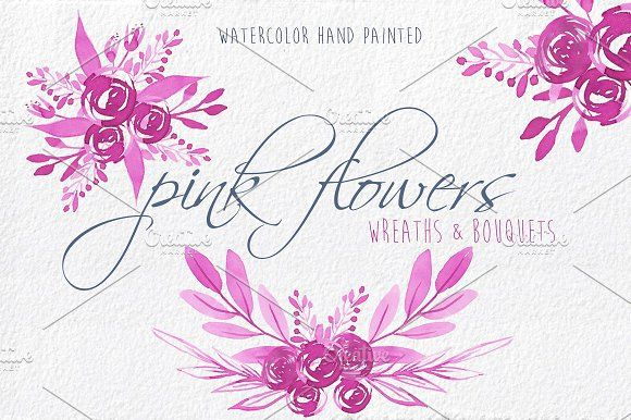 Pink Flowers watercolor Clip Art - Elegant and romantic branches,flowers, bouquets and leaves painted in original watercolor.Flores rosas,bodas,invitaciones, by MARAQUELA.