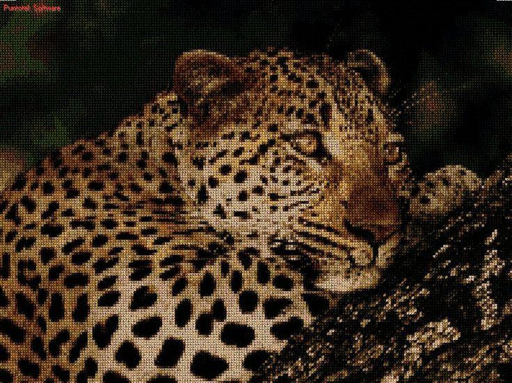 Leopardo en punto cruz