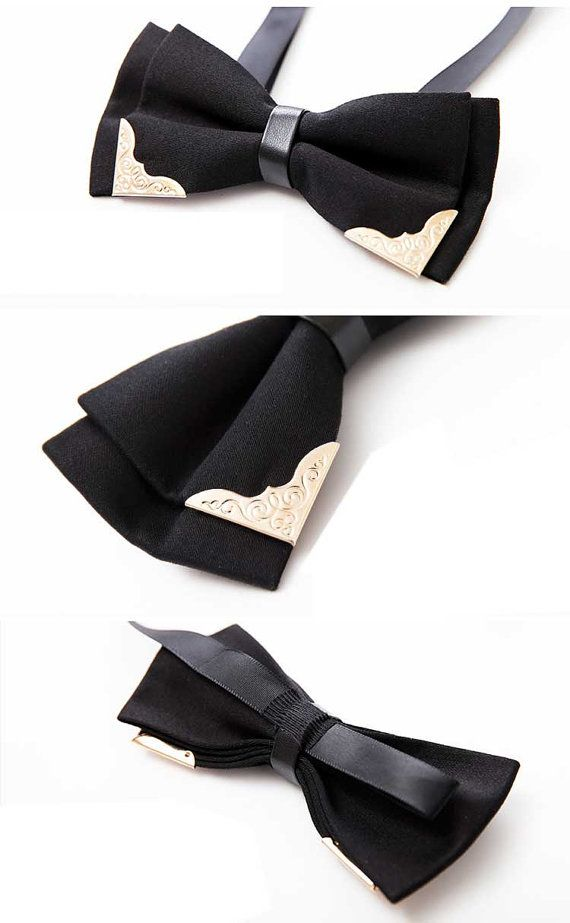 Vintage style, Men's 100% Handmade Accent Gold Cornered Cotton Leather Bow tie, Adjustable Length, Clip-on ... $15.94 AUD