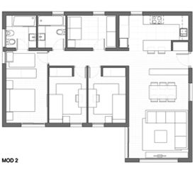 Casas modulares   Casas Prefabricadas - Modelo 2 - 4 DORMITORIOS 2 BAÑOS/ 107 m2