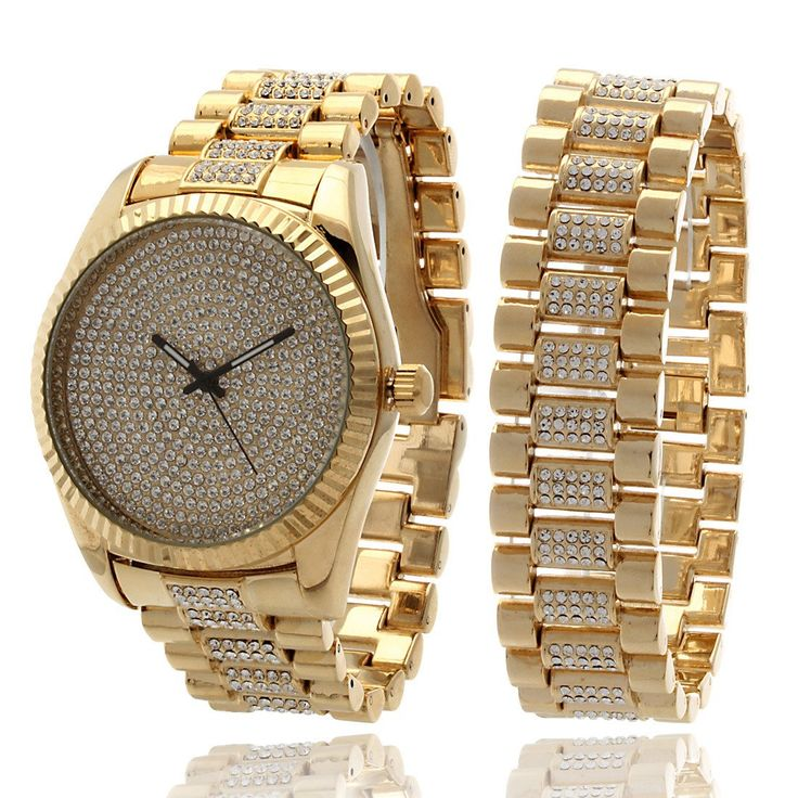 14k gold watch and rolex bracelet bling set
