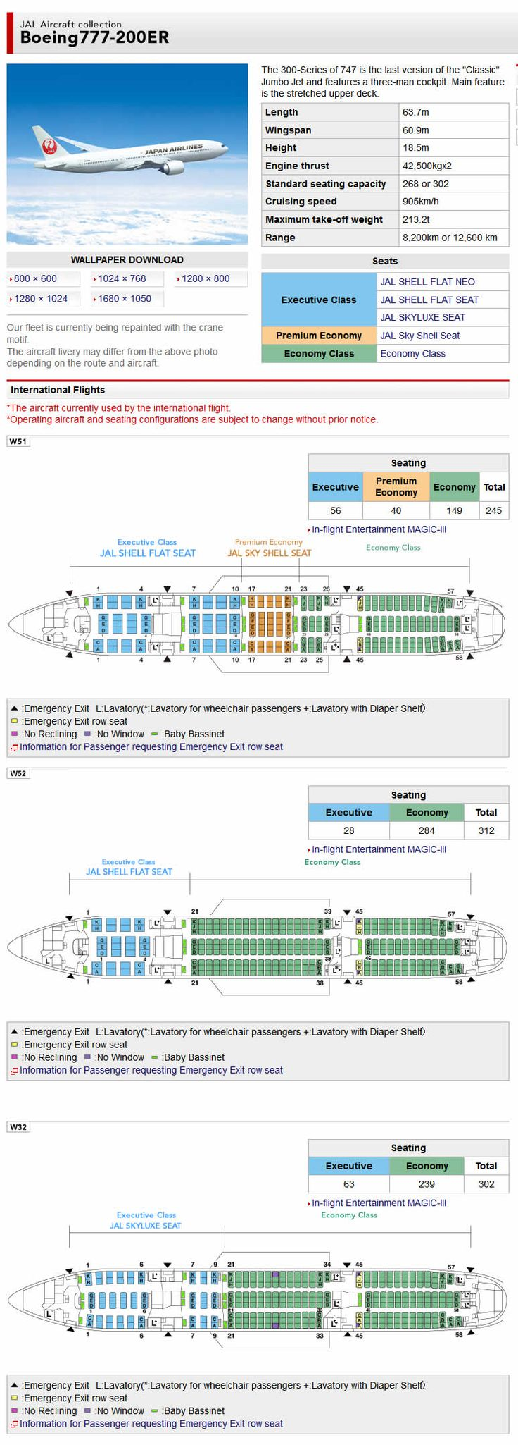 JAL JAPAN AIR AIRLINES BOEING 777-200ER AIRCRAFT SEATING CHART