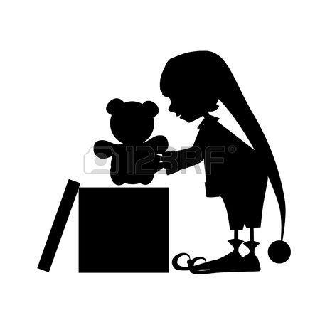 cartoon elfe: Christamas niedliche Elfe Silhouette mit Geschenk (Bär)