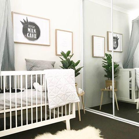 Nursery Design - Oeuf Sparrow Cot - white grey timber nursery - gender neutral nursery - adairs nursery