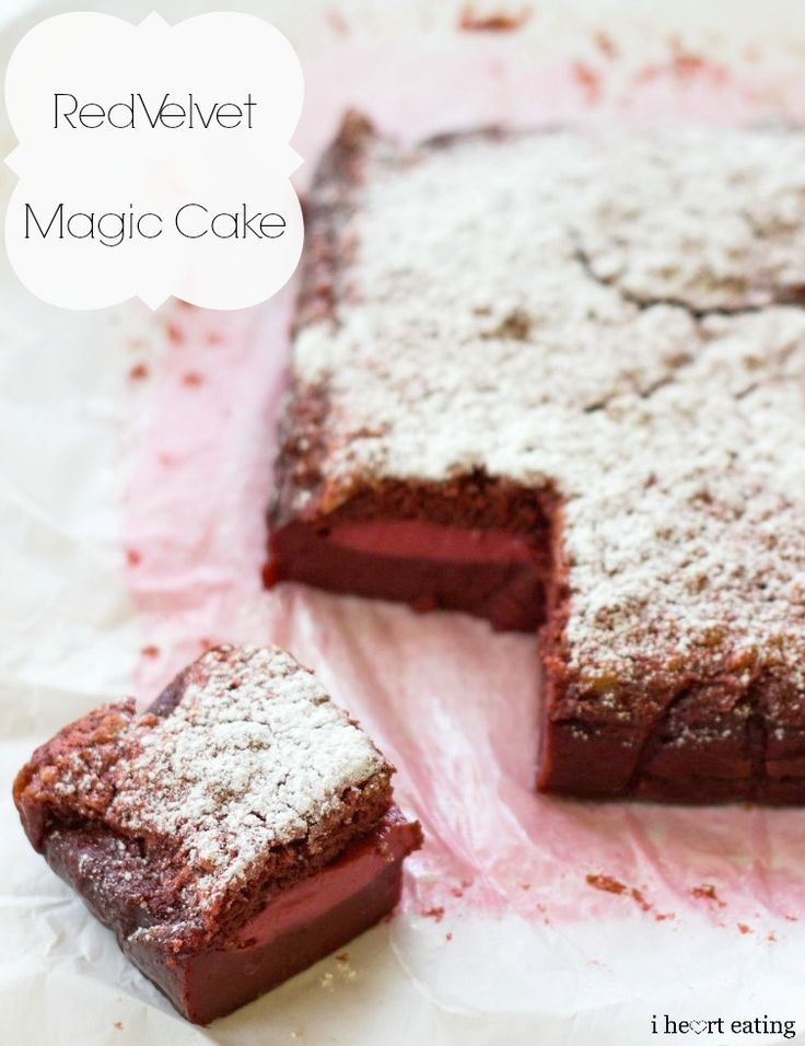 Red Velvet Magic Cake  has one batter that magically separates into three layers while it bakes!