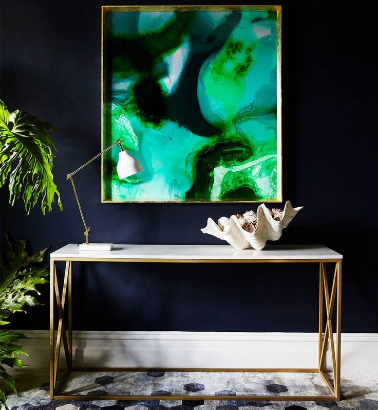 Marble X Frame Console Table - Brass