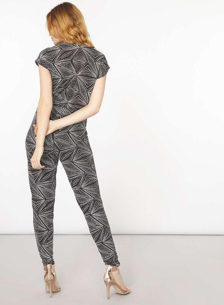 Womens Silver Glitter Jumpsuit- Silver
