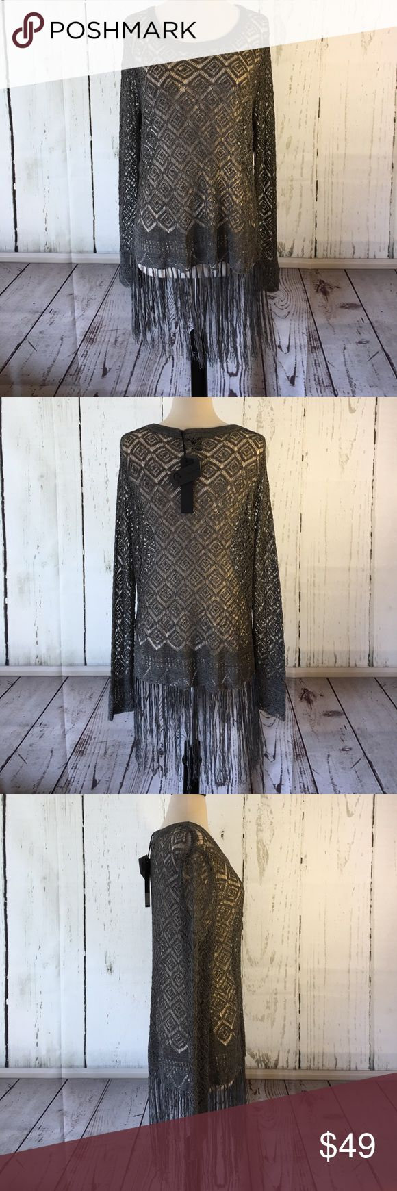🎀🆕C. Luce Open Weave Fringed Top🎀 So beautiful, with the open weave and the long fringe along the bottom, this would look amazing with a bralette or cami underneath, worn with anything from jeans to a skirt or even over a swimsuit if you so desire. Such a cute, boho chic top!' C. Luce Tops