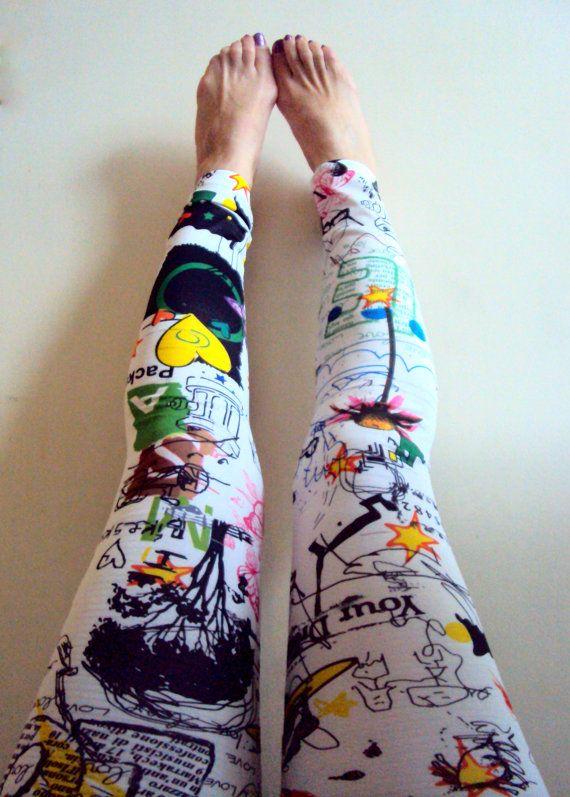 Funky Leggings Yoga Leggings Women's Sexy Skinny Pencil Drawing Printed Leggings Yoga Pants Running Leggings Workout Pants Fitness Tights by GrahamsBazaar, $55.00