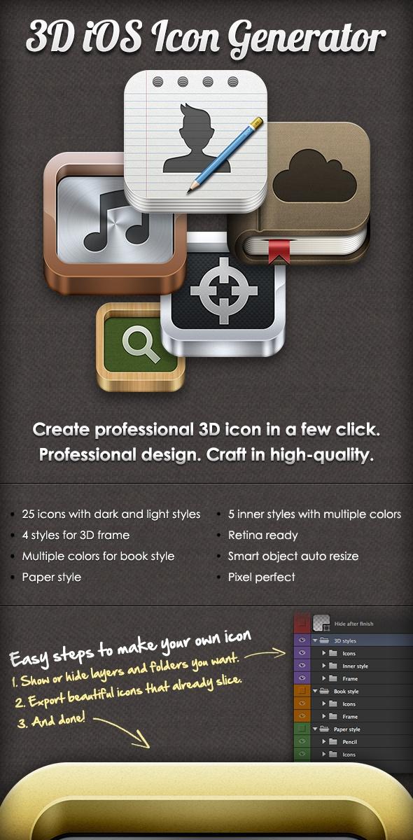 3D iOS Icon Generator by Fareast Binsteera, via Behance