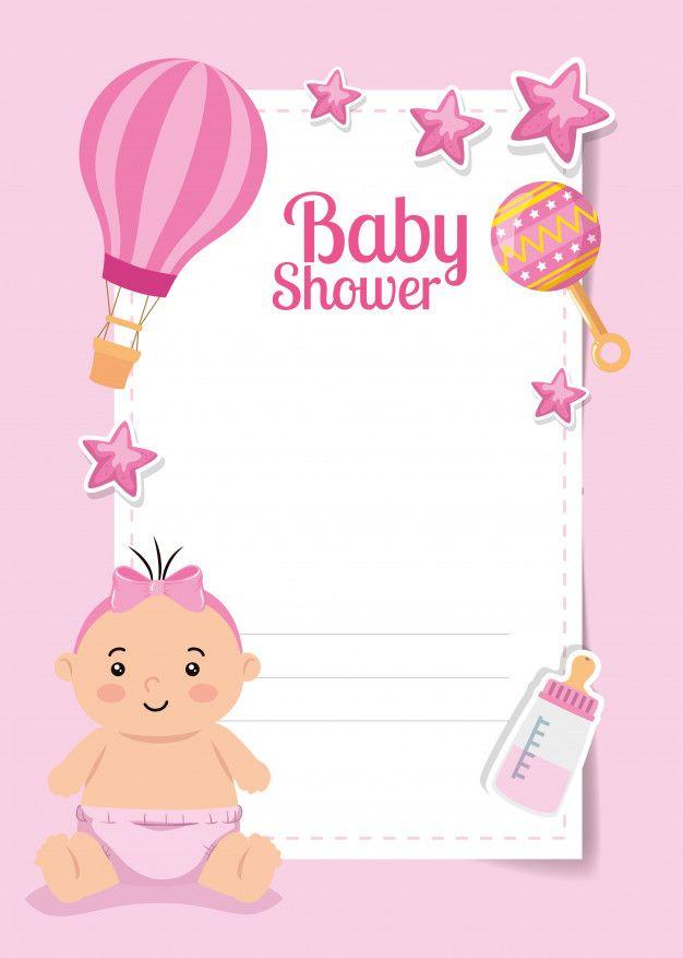 Tarjeta De Baby Shower Con Niña Linda Y Premium Vector Fre Tarjetas De Baby Shower Invitaciones De Baby Shower Para Imprimir Plantillas Para Baby Shower