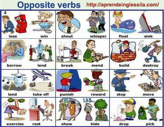 opposite verbs vocabulary posters pinterest
