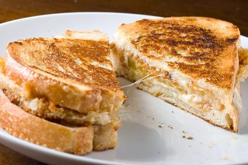 Fried green tomato and cheese grilled sandwich......