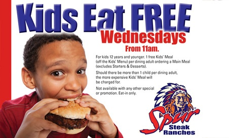 #Moms Meal Ideas.  Kids eat FREE Wednesdays from 11am.  @Chanel Coetzee As working moms we know what it is like to get home and try and cook a delicious meal for the family.  Well why not take Wednesdays off, and have dinner at Spur Steak Ranches. Kids eat FREE, wonderful