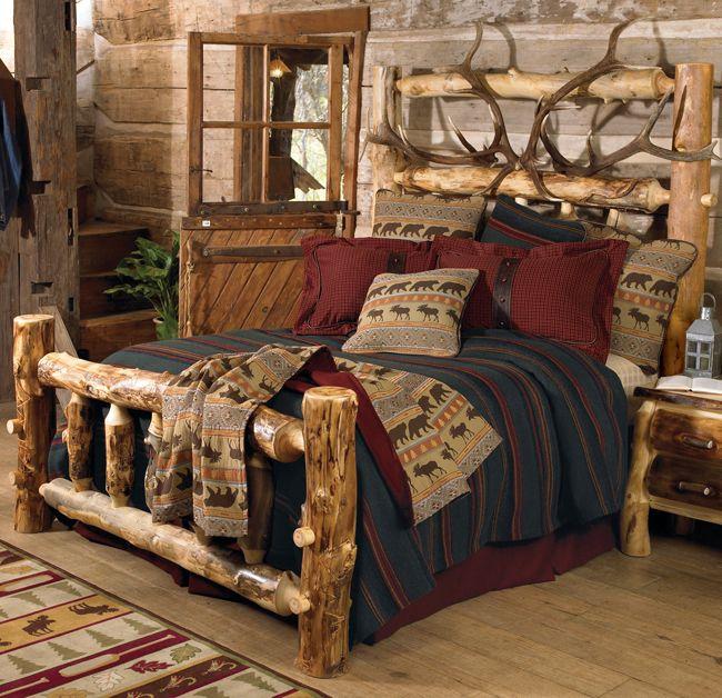 Elk Antler Aspen Log Bed King Cabins Pinterest Aspen Places And King