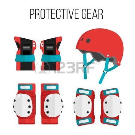 팔꿈치: 롤러 스케이트와 스케이트 보드 보호 gear.Skating 보호 장비 아이콘의 집합입니다. 보호 장비 아이콘을 스케이트 보드. 손목 보호대, 헬멧, 무릎 패드, 팔꿈치 패드. 격리 일러스트