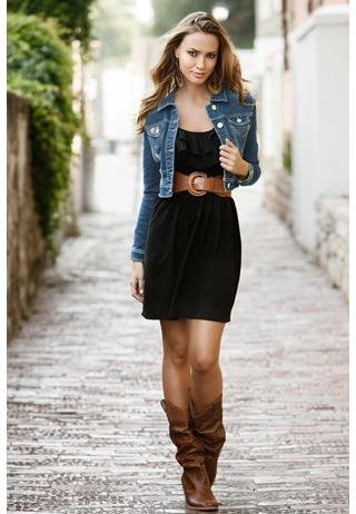 Black dress denim jacket rock