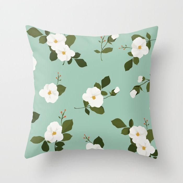 Floral Throw Pillow White Flowers On Teal Background Throw Pillow Society6 Pillows Cushion Homedec Floral Throw Pillows Throw Pillows White Throw Pillows