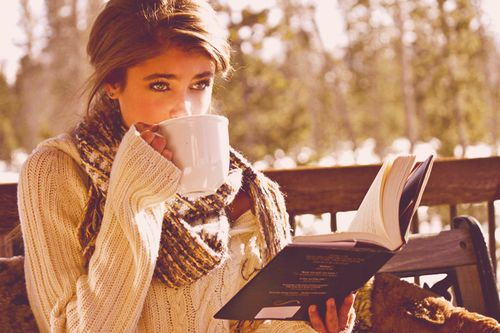 Peace and quiet girl outdoors nature drink coffee autumn book sweater: