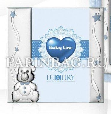 """Фоторамка подарочная детская """"Медвежонок"""", голубая, Италия, серебро"""