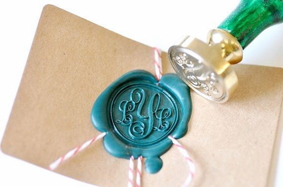 Custom Initials Monogram Gold Plated Wax Seal Stamp x 1