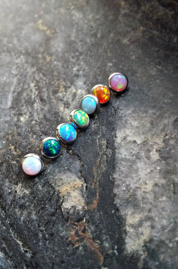One 1 5mm OPAL Stone Dermal Head Anchor by FeatherBlueJewelry
