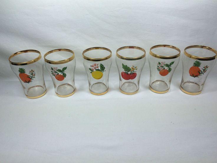 Vintage Retro 50s 60s Britvic Fruit Juice Glasses Tumblers Gold Rimmed Set 6   eBay