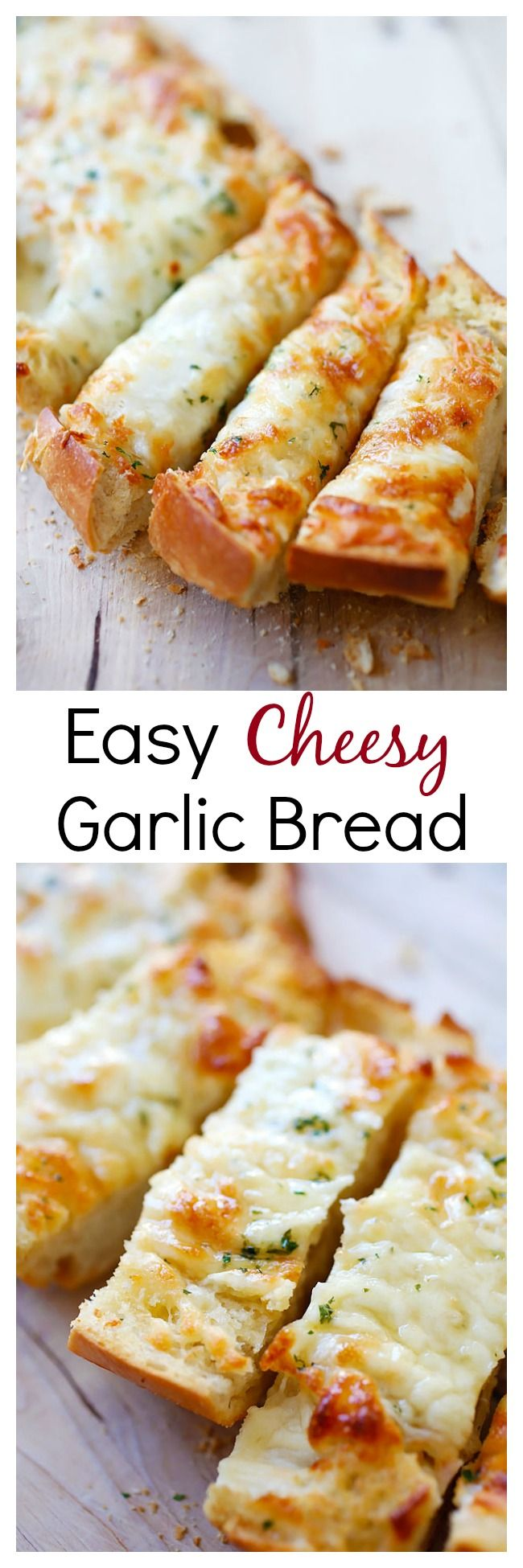 Easy Cheesy Garlic Bread – Turn regular Italian bread into buttery & cheesy garlic bread with this super easy recipe that takes only 20 mins | rasamalaysia.com @CrunchyCreamySw