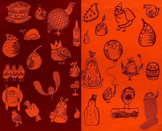 crazy owls endpapers from Paul Octavious