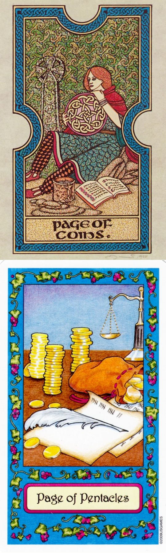Page of Pentacles: material venture and daydreaming instead of action (reverse). Celtic Tarot deck and Whimsical Tarot deck: free one card tarot reading, tarot pouch and tarot 78 cards. New fortune telling and spells.
