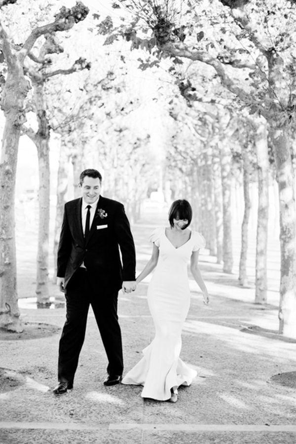 v neck + rosette sleeves + fit and flare wedding dress // San Francisco City Hall wedding