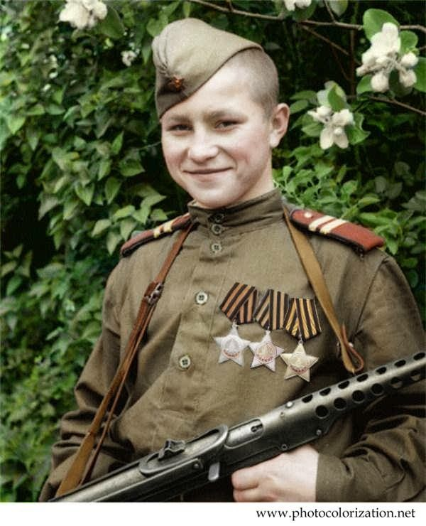 The photo of Ivan Kuznetsov.  The youngest (17 years old) who was awarded by the Order of glory 1, 2 and 3 degrees