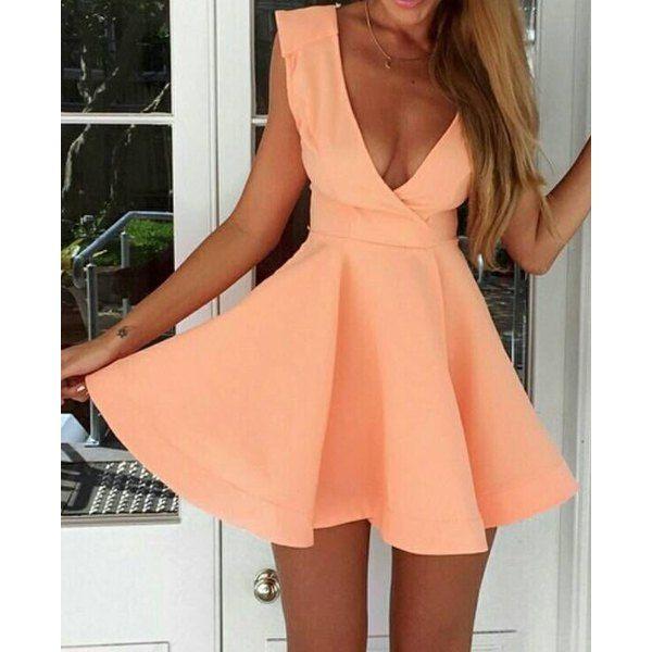 Deep V Neck Backless Solid Color Sleeveless Dress