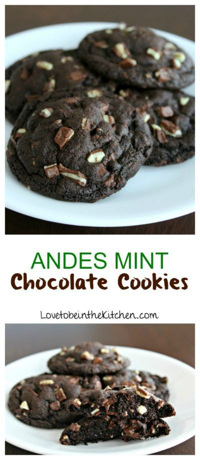 Andes Mint Chocolate Cookies- Soft and chewy chocolate cookies full of Andes Mints and melty chocolate chips.