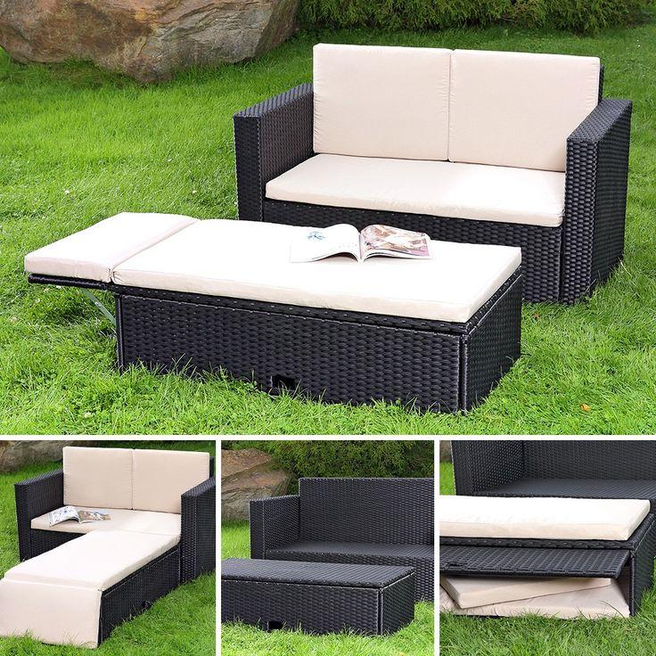 2 Teiliges Polyrattan Lounge Möbel Set
